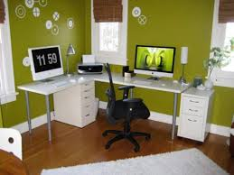 brilliant interior office room with green wall also l shaped table cool interior office decoration ideas brilliant small office decorating ideas