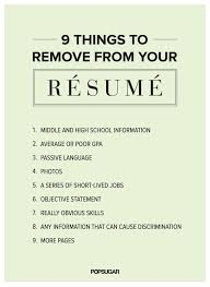 Resume tips  For the and ESL on Pinterest Come in to Career Services to get your personalized resume review    Things to Remove