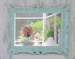 blue framed bathroom mirrors