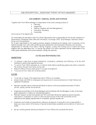 office assistant job description sample recentresumes com sample resume resume front office manager job duties