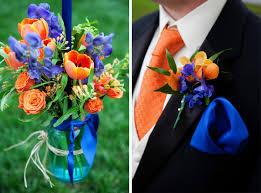 Image result for blue orange centerpieces