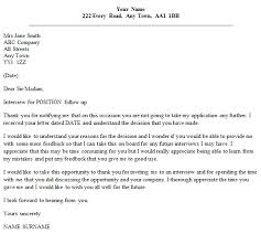 follow up letter example after unsuccessful interview icover org uk