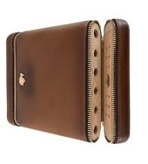 <b>COHIBA Brown</b> Genuine <b>Leather</b> 2-finger <b>Cigar</b> Holder/Case-Great ...