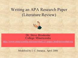 Writing a Literature Review   How To  Write a Literature Review     Unlike in earlier editions of the APA manual  the sixth edition tells you to bold