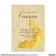 CHEAP Wedding, <b>Business</b> Event Invites Gold Peacock | Cheap ...