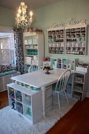 colorful crafts and sewing room loaded with finished projects 18 stunning white crafts room with cathedral ceiling in vintage decor 19 beautiful home office den