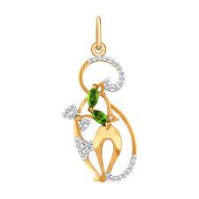 <b>Подвеска</b> «<b>Кошечка</b>» из золота с зелеными фианитами ...