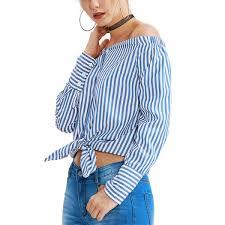 <b>Рубашка женская, в полоску</b>, с открытыми плечами - купить ...