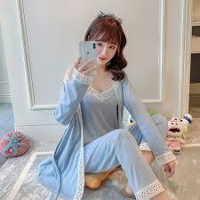 Pajamas <b>Women's Spring</b> and Autumn Sexy <b>Nightdress</b> Lace <b>Ladies</b> ...