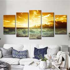 2019 Nature Landscape Poster Sunset Wall <b>Art</b> Oil <b>Painting Modular</b> ...