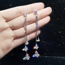 1Pair Tassel Earrings Zircon Butterfly Super Fairy <b>Temperament</b> ...