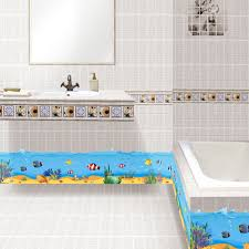 bathroom skirting sea world skirting line diy cartoon wall stickers fish wall decal bath