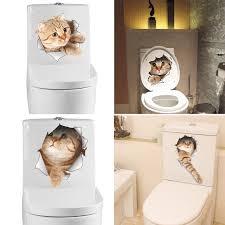 DIY 3D <b>Cats Toilet Stickers</b> Cartoon Wall <b>Stickers</b> Vinyl <b>Decals</b> ...