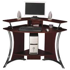 computer desks for home and contemporary dark brown solid wood mixed chrome metal based frame for brown solid wood shape home
