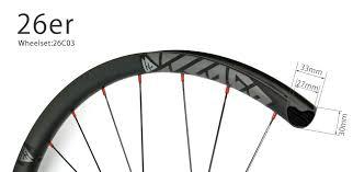 Hand-built <b>26er</b> all <b>mountain carbon fiber</b> wheelset 33mm wide ...