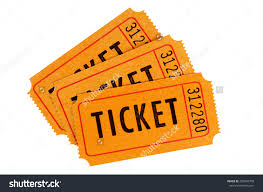 raffle ticket group three orange movie stock photo  raffle ticket group of three orange movie or concert tickets isolated on a white background