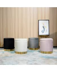 Check Out Deals on <b>Storage Ottoman</b> Set Round Velvet Footrest ...