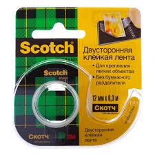 <b>Клейкая лента</b> двусторонняя <b>3M Scotch</b> 12 мм*6,3 м, прозрачная ...