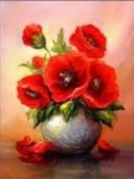 US Seller. Red Poppies Flowers Vase. <b>DIY</b> 5D <b>Diamond</b> Painting Art ...
