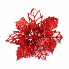 <b>5PCS</b> Christmas <b>Glitter Flowers</b> Plastic Simulation Hollow <b>Flower</b> ...