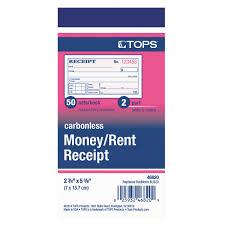 tops carbonless money rent receipt book count click to zoom