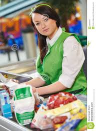 shopping cashdesk worker in supermarket stock photo image  cashdesk worker in supermarket