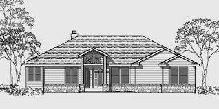 One Story House Plans  Daylight Basement House Plans  Side GarageHouse front color elevation view for One story house plans  daylight basement house plans