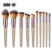 MAANGE <b>10 Pcs Champagne</b> Colour Makeup Brush | Shopee ...