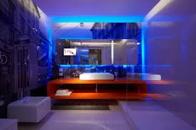 amazing small bathroom design with blue led lights decors frameless mirror above orange cabinet and square amazing amazing bathroom lighting ideas