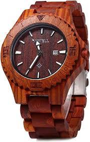 Bewell Handmade Wood Watch 100% Natural Red ... - Amazon.com