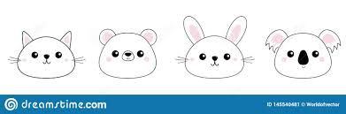 <b>Cat Kitten Bear</b>, Grizzly, <b>Rabbit</b>, Hare, Koala Head Face Set Line ...