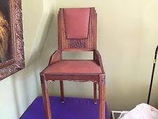 vtg antique art deco chair carved wood oak skyscraper back 20s 30s antique deco wooden chair swivel