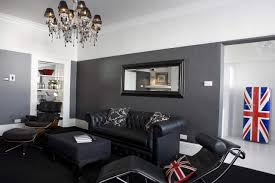 ideas rooms black small furniture modern living room with black leather chaise