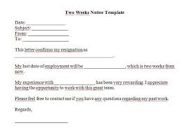 two weeks notice letters resignation letter templates two weeks notice 07