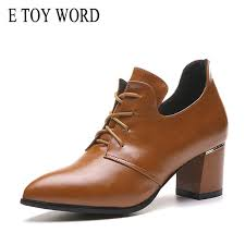 <b>E Toy Word Pointed</b> Toe Thick Heels Spring Autumn Fashion ...