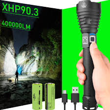 <b>USB Rechargeable</b> Zoomable XHP90 Ultra Bright Flashlight Torch ...