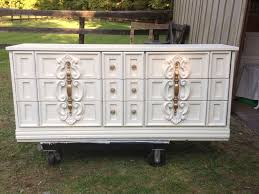 images hollywood regency pinterest furniture: s dresser updated heirloom white paint by behr and gold hardware beautiful