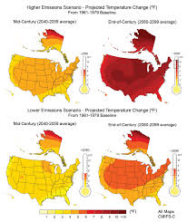 future of climate change climate change science us epa four maps showing projected us temperatures under two emissions scenarios both show mid century