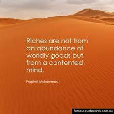 Famous Quote Cards | quote by Prophet Muhammad - A contented mind