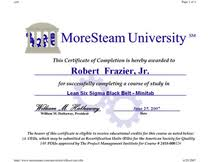 robert frazier jr   quality engineering supervisor for performance    lean sigma black belt completion certificate cv  lean six sigma