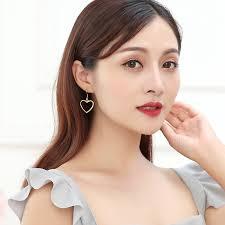<b>Korean Fashion Hollow</b> Love Heart Lovely Earrings For Women Girl ...