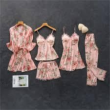 <b>Daeyard</b> Women's <b>Pajamas Silk</b> Floral Overall Print 5Pcs <b>Pajama</b> Set