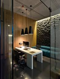 modern minimalist office. modern minimalist office design with high ceiling and hanging pendant lamp low light plus white desk black leather chairs wood wall o