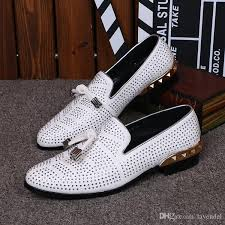 Hot Sale Gold Pointed Toe <b>Crystal Handmade Men Loafers</b> Fashion ...