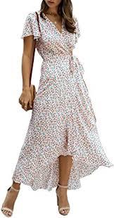 Alelly <b>Women</b> Wrap Maxi Dress Split Flowy Long <b>Cocktail</b> Dress ...