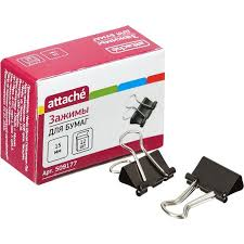 <b>Зажимы</b> для бумаг 15 мм черные (12 штук в коробке)