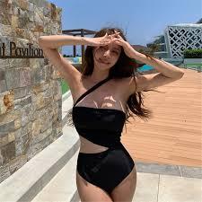 Influencer Sexy Tube Top <b>Bikini Irregular One Piece Swimsuit</b> Waist ...