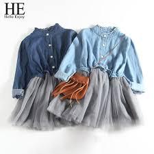 <b>HE Hello Enjoy</b> Girl Denim Dresses Spring Autumn <b>kids</b> Dresses for ...