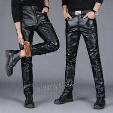 Men <b>Winter Thick</b> PU <b>Leather</b> Warm Fur Lined Long <b>Pants</b> Casual ...