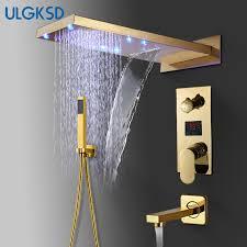 ULGKSD Bathroom Shower Faucet <b>LED Golden Brass</b> Waterfall ...